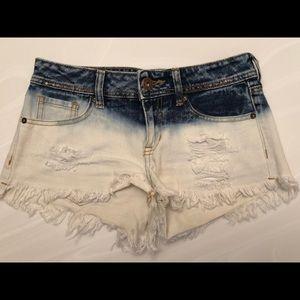 White and navy blue denim shorts